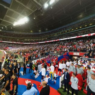 Harry Kane leads out England at Wembley