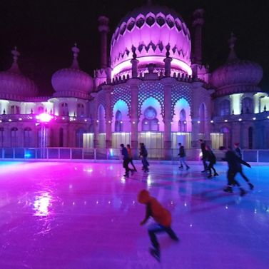 Brighton Pavilion provides a spectacular backdrop to this ice rink