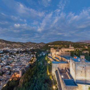 Visit the Alhambra fortress overlooking the Spanish city of Granada