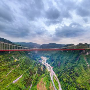 Enjoy an aerial view of the record-breaking Aizhai bridge, near Jishou in Hunan, China