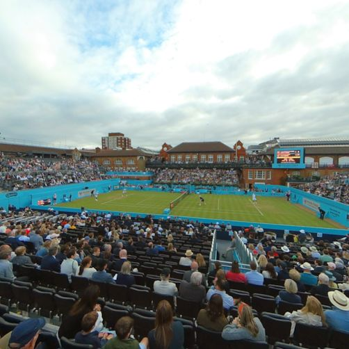 Join the crowd in the main stand at London's Queen's Club to see Andy Murray return to tennis
