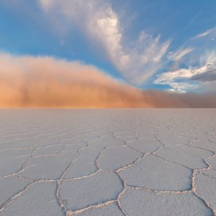 Get an eyeful of the world's largest salt flat, as a storm rages across its sun-baked surface