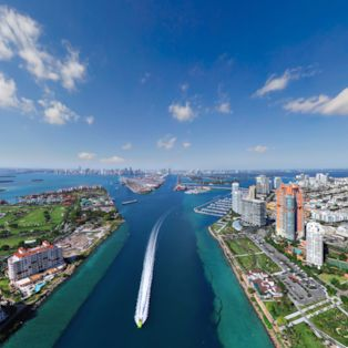 An aerial view of Government Cut, the shipping channel for the Port of Miami