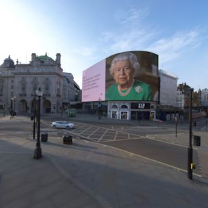 Welcome to rush hour in lockdown London's Piccadilly Circus, as the Queen delivers a message of hope